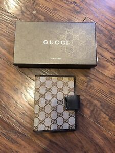 Authentic GUCCI Brown Monogram Agenda Planner Organizer Bag Cover-$1200