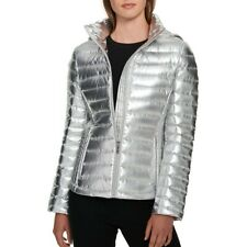 TOMMY HILFIGER NEW Womens Silver Packable Hooded Puffer...