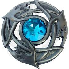 Men's Celtic Brooch Kilt Fly Plaid Sky Blue Stone Silver Antique/Pins Brooches