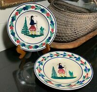 """2 HB Quimper 9 1/8"""" Rim Soup Bowls Breton Man Hand Decorated & French Paper Tag"""