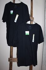Lot of 10~MEN'S~Fruit of the Loom~BLACK~V-Neck~T-Shirts~2 NEW~8 Used~Large 42-44