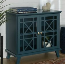 Distressed Blue Storage Cabinet / TV Stand - Open Fretwork Doors (NO GLASS) 32in