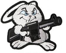 Machine Gun Bunny Rabbit Patch Embroidered Iron On Biker Skater