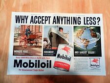 """Original 1950 """"Mobil Oil"""" Automobile-Cruise Ship-Airplane Two Page Art Print Ad"""
