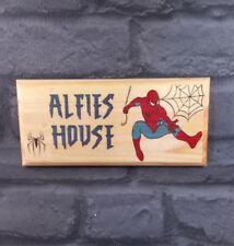 Personalised Spiderman Bedroom Door Sign, Superhero Treehouse Den Kids Shed Gift