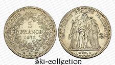 5 Francs 1872 A (Paris) Hercule. France. Argent. Petit tirage