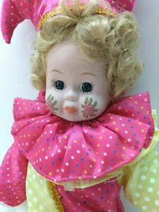 """Brinn's Clown ~ Jester Porcelain Doll with Roses on Her Cheeks 16"""""""