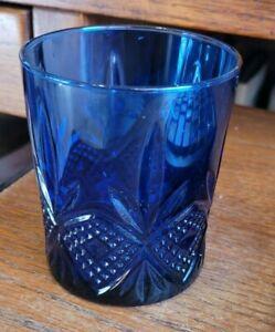 Cobalt Blue Pressed Glass Candle Holder Arcoroc Luminarc Durand -France
