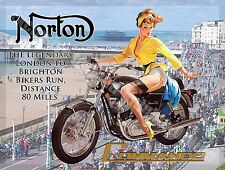 British Motorcycle Motorbike Commando Pin Up Girl Brighton Large Metal/Tin Sign