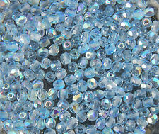 100 PCS WHOLESALE FACETED 4mm CZECH GLASS FIRE POLISHED BEADS - LT SAPPHIRE AB