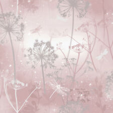 Arthouse Damselfly Pink Blush Glitter Luxury Floral Feature Wallpaper 692305