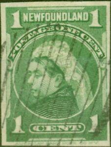 Newfoundland 1898 1c Yellow-Green SG85b Imperf Single Fine Used