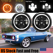 LED Headlight For Chevrolet Camaro 7'' inch Round Projector DRL Lights H4 H13 2X