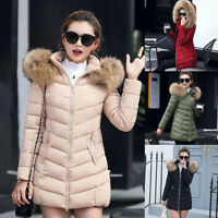 Womens Winter Warm Fur Collar Hooded Long Coat Jacket Slim Parka Outwear Coat US