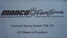 Used Manco Power Sport Technical Service Bulletin TSB 135 ATV Break-in Procedure
