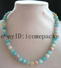 "morganite amazonite round 8mm beads AA 18"" nature necklace wholesale bead gift"