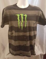 Monster Energy Black & Gray Striped T Shirt M On The Front In Green Size M