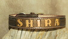 "Custom Brown Leather Dog Collar Your Dogs Name 1"" wide Hand Tooled + BW. G&E"