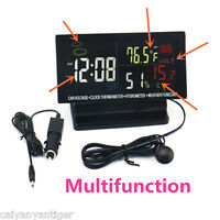 12V Digital Clock Car LCD Alarm Voltage Thermometer Hygrometer Weather Forecast
