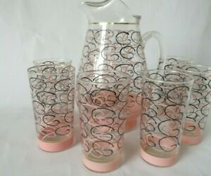 Vintage MCM Crystal Pitcher & 6 Glass Set 1950's Pink & Black Curly Cue Design