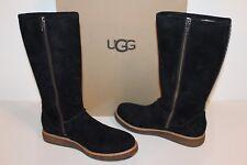 Ugg Australia 1012546 Black 9 RUE Women Suede Sheepskin Tall Boots Black 9