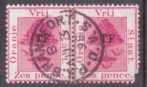 "OVS  ORANGE FREE STATE   POSTMARK / CANCEL  ""PK BRANDFORT  O,V.S""  1898 on pair"