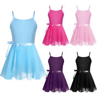 Kids Girls Ballet Dance Dress Gymnastics Leotard with Chiffon Tied Skirt Outfits