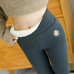 Women Solid Warm Winter Velvet Wool Cashmere Pants Slim Up Trousers Leggings