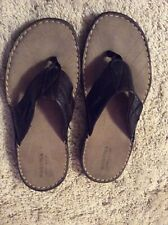 Mens Sonoma Life + Style Size 9 Brown Leather Flip Flops Worn A Couple Times