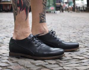 HUB Footwear Herrenschuhe Mattfield Black schwarz Echtleder Halbschuhe NEU SALE