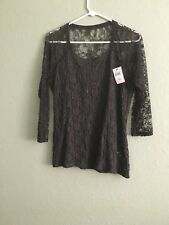 NEW A Pea in The Pod Bailey 44 Popcorn LaceTop Slate Grey  Size L.Made in USA