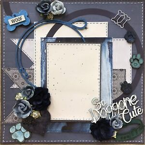 Premade Scrapbook Page Layout 12x12 So Doggone Cute - gift dog puppy pet animal