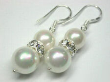Pearl Crystal Silver Hook Earrings Pretty White South Sea Shell