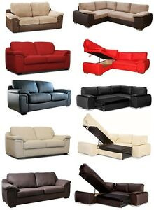 BRAND NEW DESIGNER LARGE LEATHER STORAGE CORNER SOFA BED WITH 3 SEATER