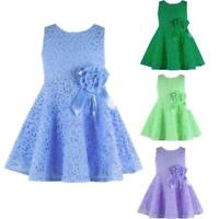 Fashion Toddler Baby Girls Kids Child Clothes Lace Floral Princess Party Dresses