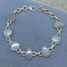 Genuine Australian Opal Bracelet - Sterling Silver - Blue Doublet Opals 168001