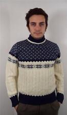 De colección para Hombre Gruesa Lana noruego Copo De Nieve Knitwear Sweater Jumper Xs