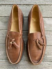 Rare Vintage Giorgio Armani Men's Shoes Brown Leather Tassel Loafers Size 10