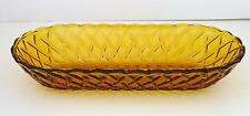 INDIANA CARNIVAL GLASS Basketweave Amber Gold Glass Rectangle Bread Relish Dish