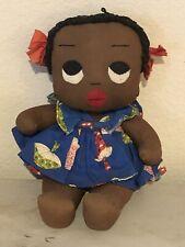 Early Hand Sewn Black African-American Folk Art Doll, Rag Doll