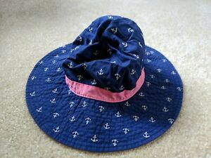 Carter's Baby Girl Sun Hat Blue Pink Anchors Boat 2-4T