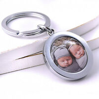Photo & Text Personalised Metal Keyring, Engraving on back, Christmas Gift