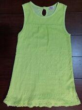 Boutique Girls Ella Moss Size 6X Lime Green Crochet Dress Made in USA