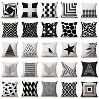 Geometric Cushion Cover Home Sofa Decor Black & White Linen Throw Pillow Case