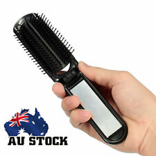 Folding Hair Brush With Mirror Compact Pocket Size Travel Comb Car For Purse Bag