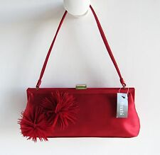 FRANCHI Fabulous New $239 Red Silk Feather Embellished Baguette Evening Purse