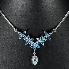 Collier Blautopas Swiss Blue 925 Silber 585 Weißgold