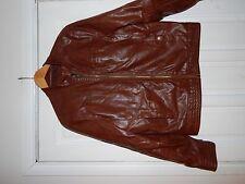 Asos Brown Leather Look Jacket In Size Medium