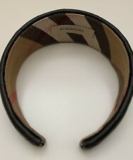 BURBERRY BLACK LEATHER QUILTED HEADBAND