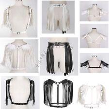 UK - Women's Leather Punk Body Bra Chest Harness Fringe Skirt Tassel Belt Strap